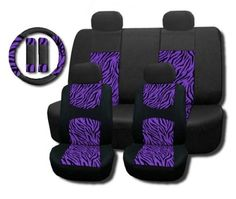 Unique Imports New and Exclusive Mesh Animal Print Interior Set Purple Zebra Seat Covers Front & Back Lowback, Back Bench, Steering Wheel & Seat Belt Covers - Padded Comfort Golf Cart Seat Covers, Truck Seat Covers, Bench Covers, Car Seat Cover Sets, Car Seats, Zebra Print Bedding, Black And White Chair, White Chairs, Black White