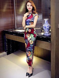 Contrast Ankle-length Qipao / Cheongsam Prom Dress with Split
