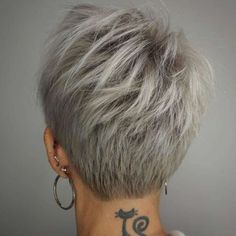Back View Of Short Layered Haircuts. Back View Of Short Layered Haircuts. Back View Of Short Layered Haircuts Short Hair Cuts For Women, Short Hairstyles For Women, Back Of Short Hair, Short Cuts, Short Short Hair, Short Hair Shaved Sides, Long Pixie, Long Hair, Corte Pixie