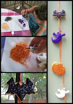 Creative Halloween Garland - made from salt dough ornaments that the kids paint and glitter!