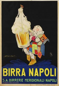 ✔️ Birra Napoli by Mauzan, 1922 Beer Advertisement, Vintage Advertising Posters, Old Advertisements, Vintage Travel Posters, Jazz Poster, Beer Poster, Poster Ads, Vintage Italian, Vintage Ads