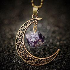 Gemstone Moon Necklace