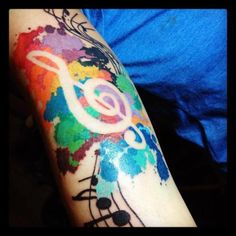 They did not make a water color tie dye looking music note tattoo!!! I love how the tattoo artist did the color spots. Awesome! My favorite so far #tattoo #tatttoos #ink