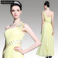 Free shipping ready to wear light yellow one shoulder long evening dresses 2015/long homecoming dresses 31091
