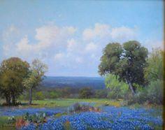 Bluebonnet painting by Porfirio Salinas.