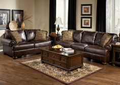 Antique Brown Leather Sofa Set - Bowling Green Overstock Warehouse