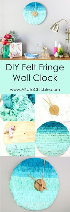 DIY Ombre Felt Fringe Wall Clock - Make your own wall clock from fringe cut felt - makes a beautiful focal piece for your wall - Home Decor - Target - Gold and Blue