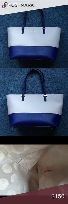 Kate Spade Cedar Street Small Harmony Cream/Blue Used one month. Excellent condition. Small red pen mark, photo shown kate spade Bags Shoulder Bags