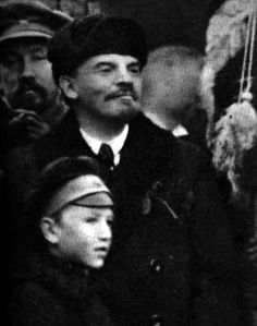 V. I. Lenin in the Red Square at the Kremlin wall during a demonstration of the working people devoted to the First Anniversary of the Great October Socialist Revolution. Moscow. November 7, 1918