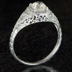 Custom Made Art Deco Filigree Engagement Ring Semi Mount Diamond Setting