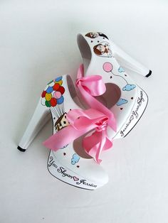 UP Movie Shoes - Carl and Ellie - Handpainted Leather Shoes- Custom Design Bridal Shoes