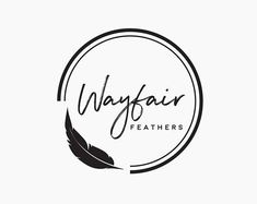 A premade round feather logo design that will be customized and personalized with your name. Round Logo Design, Circle Logo Design, Badge Design, Graphic Design, Kreis Logo Design, Rundes Logo, Typographie Logo, Design Vector, Photographer Logo