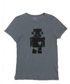 Robot Love: Black on Ocean Hand Printed 100% Organic Cotton Original Mushpa + Mensa Design T-Shirt #organiccotton  #tshirts #screenprinted #robotgirl #robot, #feminist #surfergirl #robotlove #sciencefiction #GirlLove #robotgirlsurfer