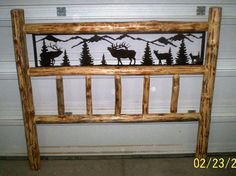 King Size, Rustic Iron Style Pine Log Bed Headboard W/ Wildlife Scene