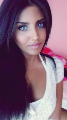 Straight, black, and long hair with blue eyes (contacts) is soo sexy to me