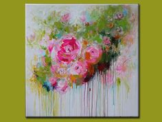 ORIGINAL Abstract Contemporary Abstract flower painting on canvas Acrylic Abstract art pink olive green: