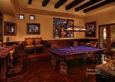 Taber & Cmpany  Custom Billards Table, floors. seating, beams and millwork. Handcrafted in Arizona