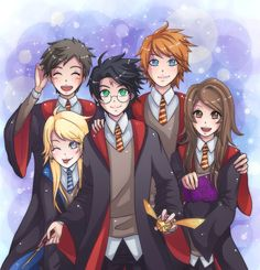 Neville, Luna, Harry, Ron, and Hermione