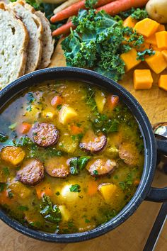 Harvest Stew with Smoked Sausage – Soup Winter Soups, Winter Food, Winter Dishes, Autumn Soup, Winter Drinks, Fall Food, Whole30 Soup Recipes, Healthy Recipes, Baking Recipes
