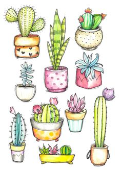 Cactus clipart watercolor cactus cactus in pots sticker clipart quirky handpainted whimsical cactus cute cactusplanner stickers Cactus Drawing, Cactus Painting, Watercolor Cactus, Watercolor Logo, Cactus Art, Succulents Drawing, Cactus Plants, Watercolor Succulents, Doodle Drawings