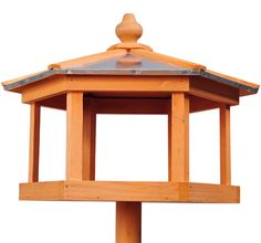 New Deluxe Pawhut Wooden Bird Feeder House with Metal Roof