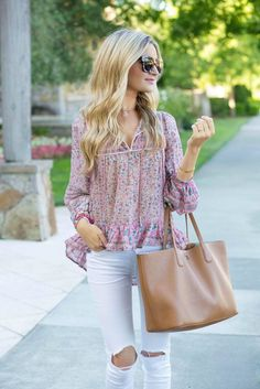 Weekend style! Beautiful floral flowy top, distressed white jeans, oversized…