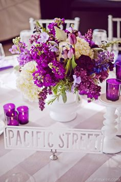 Love the contrast of the bright purple flowers and stark white-
