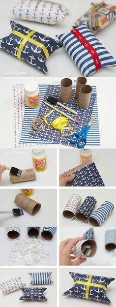 Fabulous DIY Party Favors in Four Easy Steps - Mod Podge Rocks - These simple and cute DIY nautical party favors are so easy / cheap to make and can be customized t - Felt Crafts Diy, Toilet Paper Roll Crafts, Felt Diy, Craft Gifts, Diy Gifts, Cheap Gifts, Paper Crafts, Nautical Party Favors, Wedding Party Favors