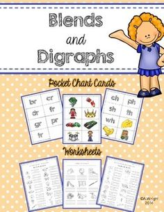 Blends and Digraphs ~ Pocket Chart Cards and Worksheets