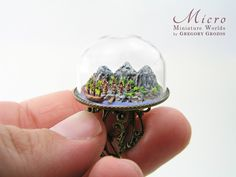 Very detailed with town, mountains, trees, boat and harbor. To view this along with my other creations please visit my Etsy. Glass Bell Jar, The Bell Jar, Glass Domes, Bell Jars, Glass Bottle, Tiny Furniture, All The Small Things, Glitter Houses, Clay Food