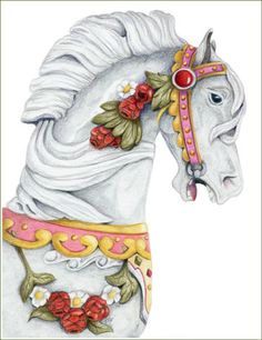 Colored Pencil Carousel Horse by Jo Goudie
