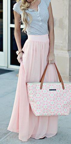summer outfits Grey Top + Pink Maxi Skirt + Printed Tote Bag