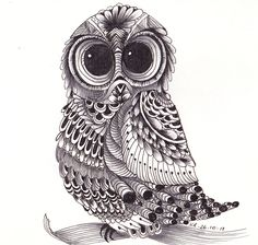 ZenTangle Owl by Kerryn Rowe