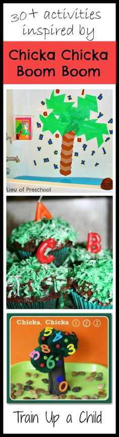 30+ Learning and play activities inspired by Chicka Chicka Boom Boom and Chicka Chicka 123.  Yummy snacks, too!  So many fun ideas to go along with these beloved childhood favorites.