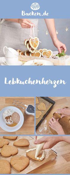 Eine gebackene Liebeserklärung und ein buchstäblich süßes Geschenk – selbstgemachte Lebkuchenherzen mit individueller Botschaft in bunter Zuckerschrift.