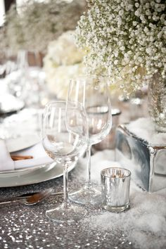 Snow sprinkling on the tables
