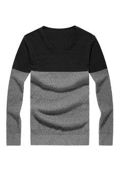 LANWO 2013 jesień/zima sweter męski dekolt V dwukolorowy
