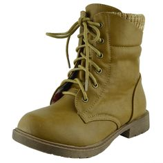 Girls toddler /& Youth Embroidery Combat Boots Black,Tan size 9-4