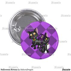 Halloween Kittens Button #purple #cats #blackcat #halloween #pets