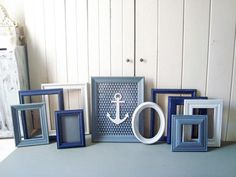 Navy Blue Nautical Frame Set Navy Blue Grey by WillowsEndCottage Blue Picture Frames, Painted Picture Frames, Picture Frame Sets, Nursery Frames, Shabby Chic Mirror, Oval Frame, Wedding Frames, Painting Frames, Grey And White