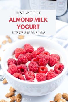 Easy almond milk yogurt in Instant Pot! Great Instant Pot breakfast recipe for non dairy yogurt that uses store bought almond milk Almond Milk Yogurt, Make Almond Milk, Homemade Almond Milk, Vegan Yogurt, Instant Pot Yogurt Recipe, Best Instant Pot Recipe, Yogurt Recipes, Gf Recipes, Cooker Recipes
