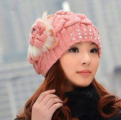 Cheap flower knit hat for women Rabbit fur ball winter hats