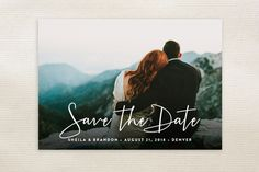 """Stylish Script"" - Full-Bleed Photo, Modern Save The Date Cards in Cloud by Hooray Creative."
