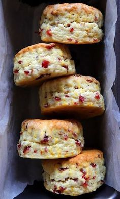 In Cookie Haven: Orange, Cranberry Cream Scones. You can prep these ahead and freeze baked or prep, and bake them fresh. Great for breakfast anytime and ideal for the holiday season. Brunch Recipes, Sweet Recipes, Breakfast Recipes, Dessert Recipes, Breakfast Scones, Brunch Ideas, Breakfast Cookies, Breakfast Ideas, Dinner Recipes