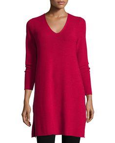 V-Neck Wool Tunic, Black - Eileen Fisher