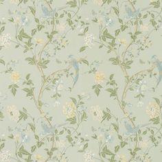 Summer Palace Eau De Nil Floral Wallpaper