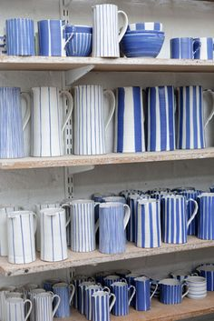 Sue Binns 's ceramic studio in London 2013 - Cobalt is applied over a matt glaze. Ceramic Cups, Ceramic Pottery, Pottery Art, Ceramic Art, Ceramic Pitcher, Pottery Mugs, Pottery Painting, Ceramic Painting, Keramik Design