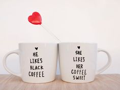 This describes our coffee preferences haha Custom couple mugs // personalized couple mugs // by AvonnieStudio