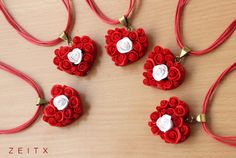 polymer clay red rose heart necklace by zeitx