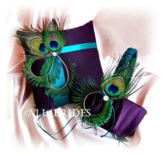 Peacock weddings purple and teal flower girl basket by All4Brides, $80.00